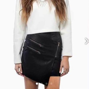Tobi faux leather skirt with zippers